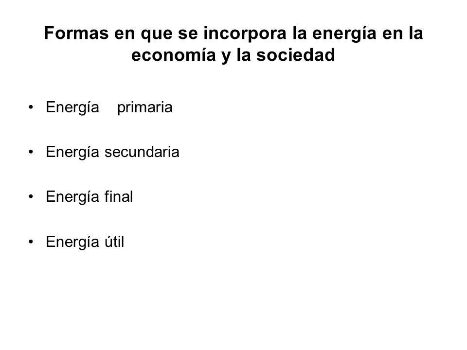 Formas en que se incorpora la energía en la economía y la sociedad