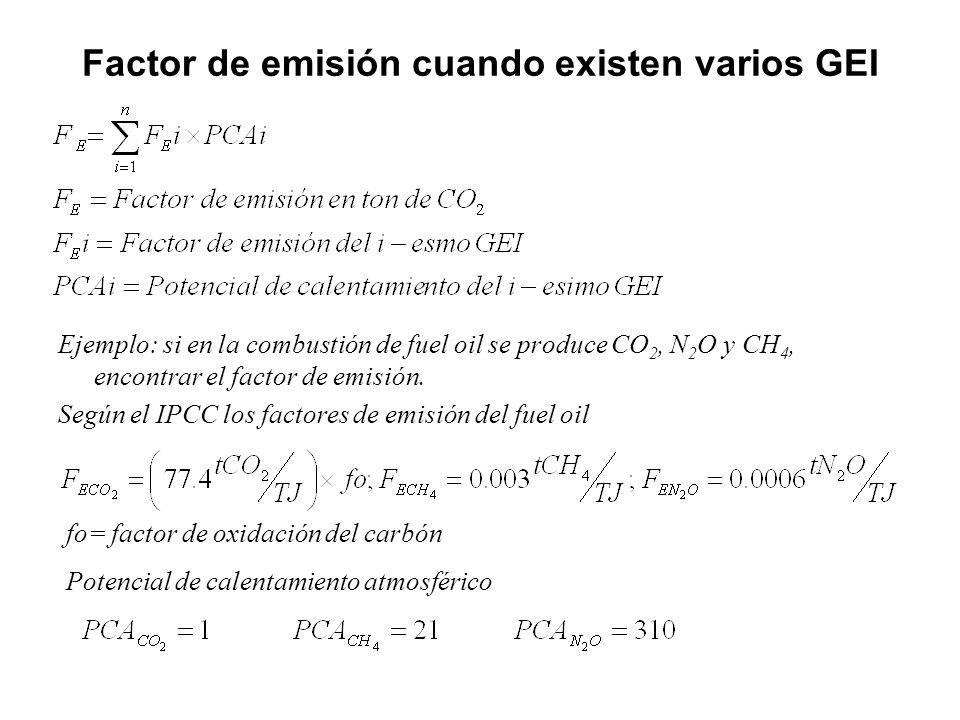 Factor de emisión cuando existen varios GEI
