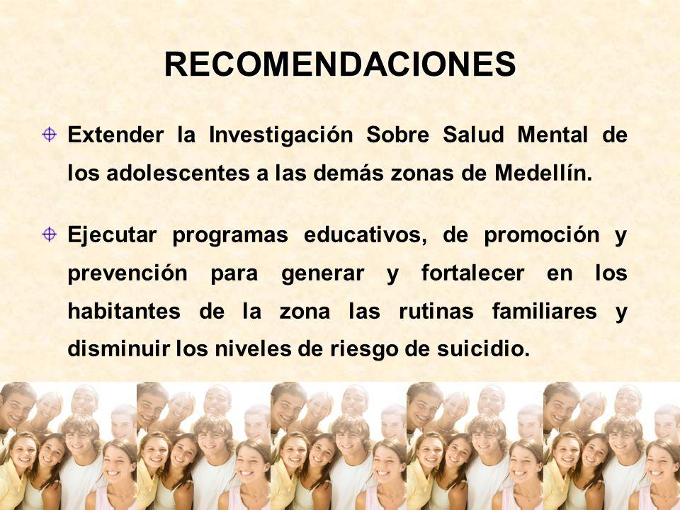 RECOMENDACIONES Extender la Investigación Sobre Salud Mental de los adolescentes a las demás zonas de Medellín.