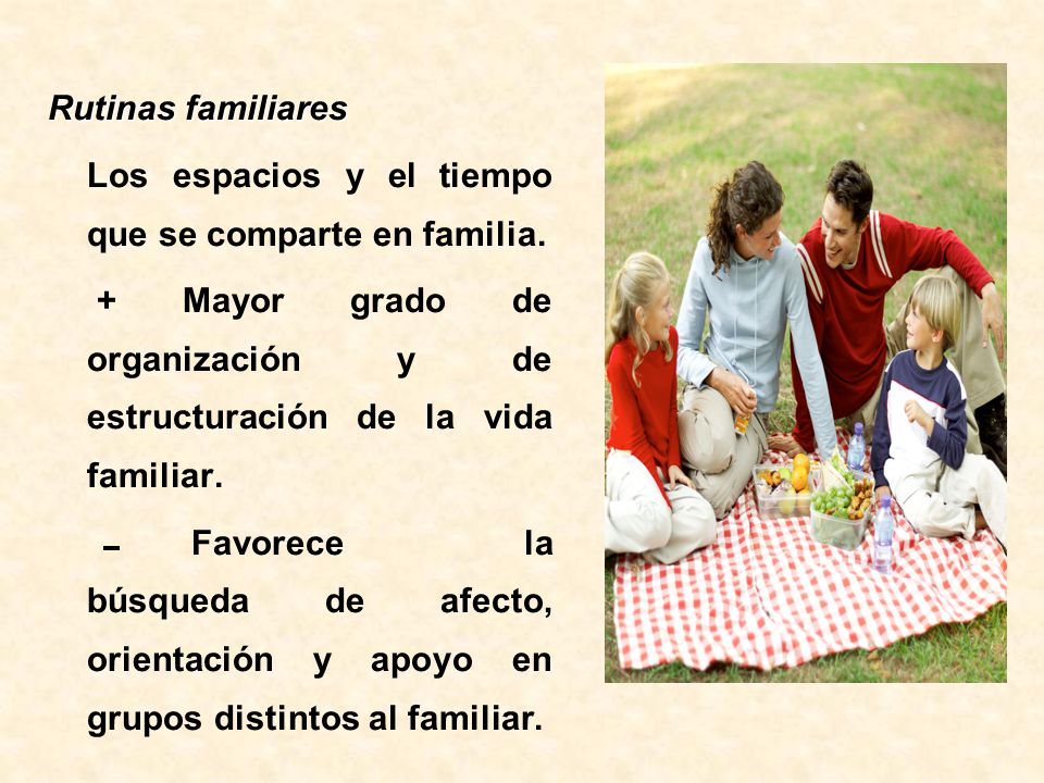 Rutinas familiares Los espacios y el tiempo que se comparte en familia. + Mayor grado de organización y de estructuración de la vida familiar.