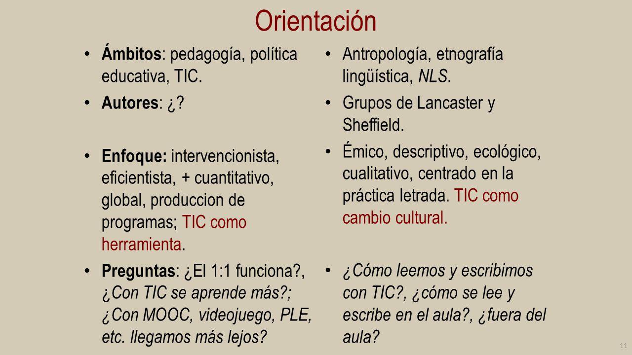 Orientación Ámbitos: pedagogía, política educativa, TIC. Autores: ¿
