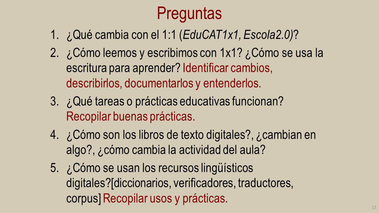 Preguntas ¿Qué cambia con el 1:1 (EduCAT1x1, Escola2.0)