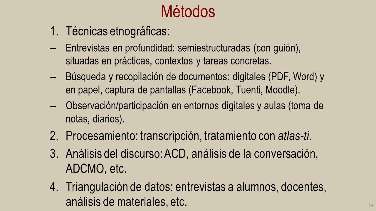 Métodos Técnicas etnográficas: