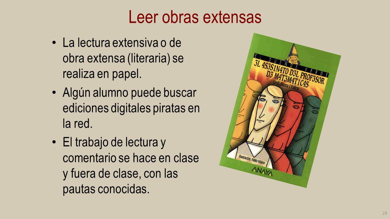 Leer obras extensas La lectura extensiva o de obra extensa (literaria) se realiza en papel.