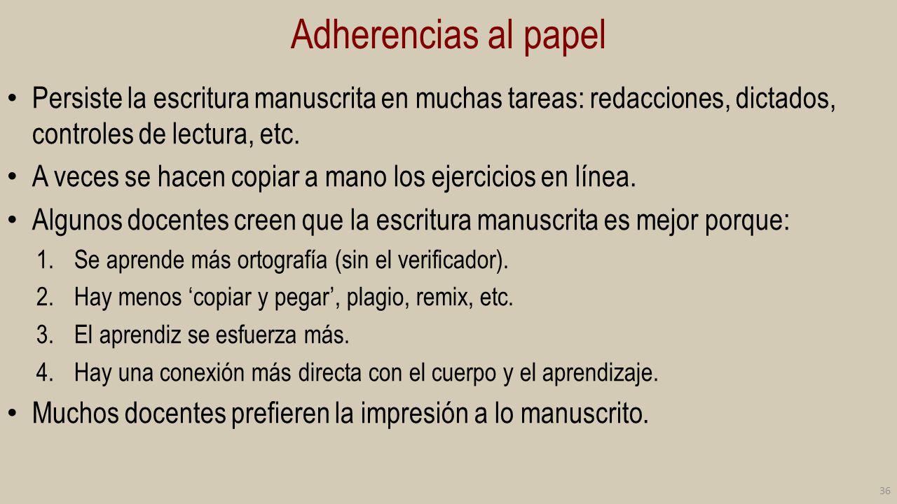 Adherencias al papel Persiste la escritura manuscrita en muchas tareas: redacciones, dictados, controles de lectura, etc.