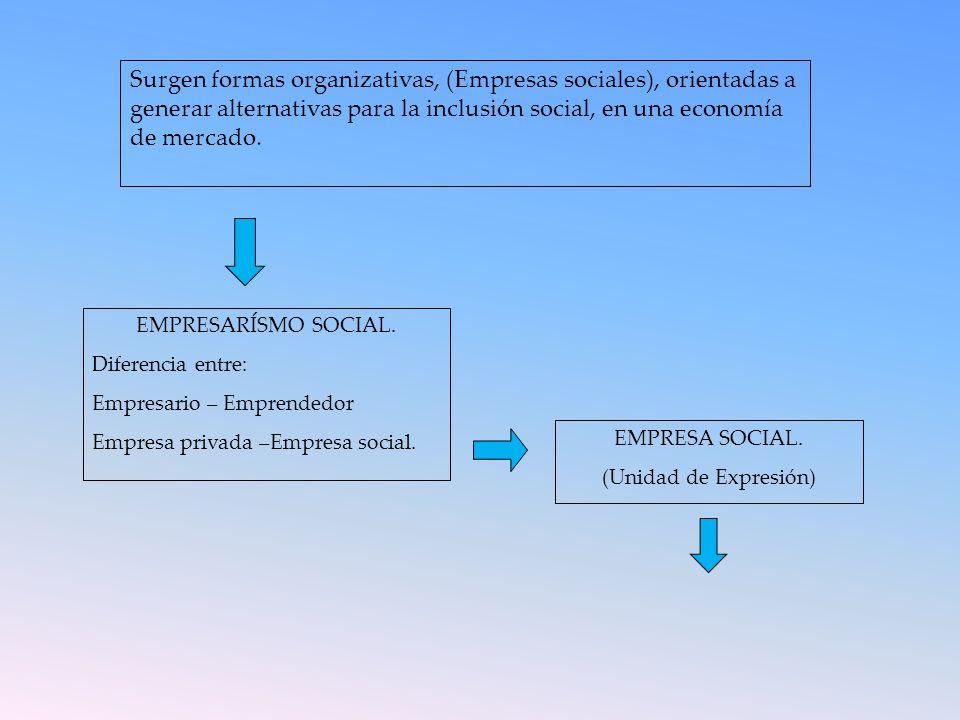 Surgen formas organizativas, (Empresas sociales), orientadas a generar alternativas para la inclusión social, en una economía de mercado.