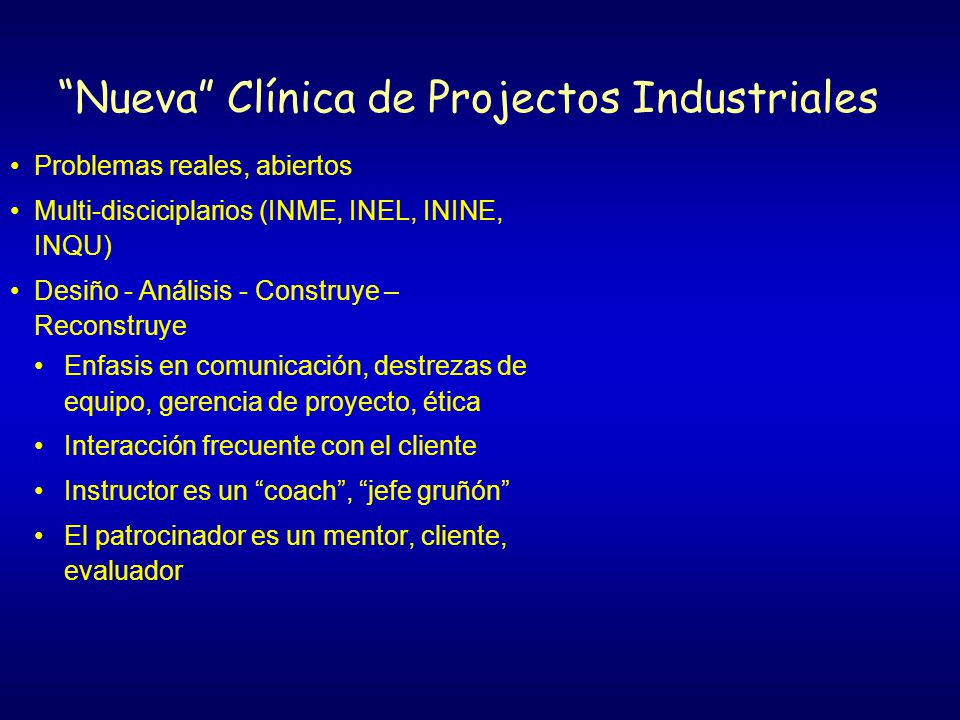 Nueva Clínica de Projectos Industriales