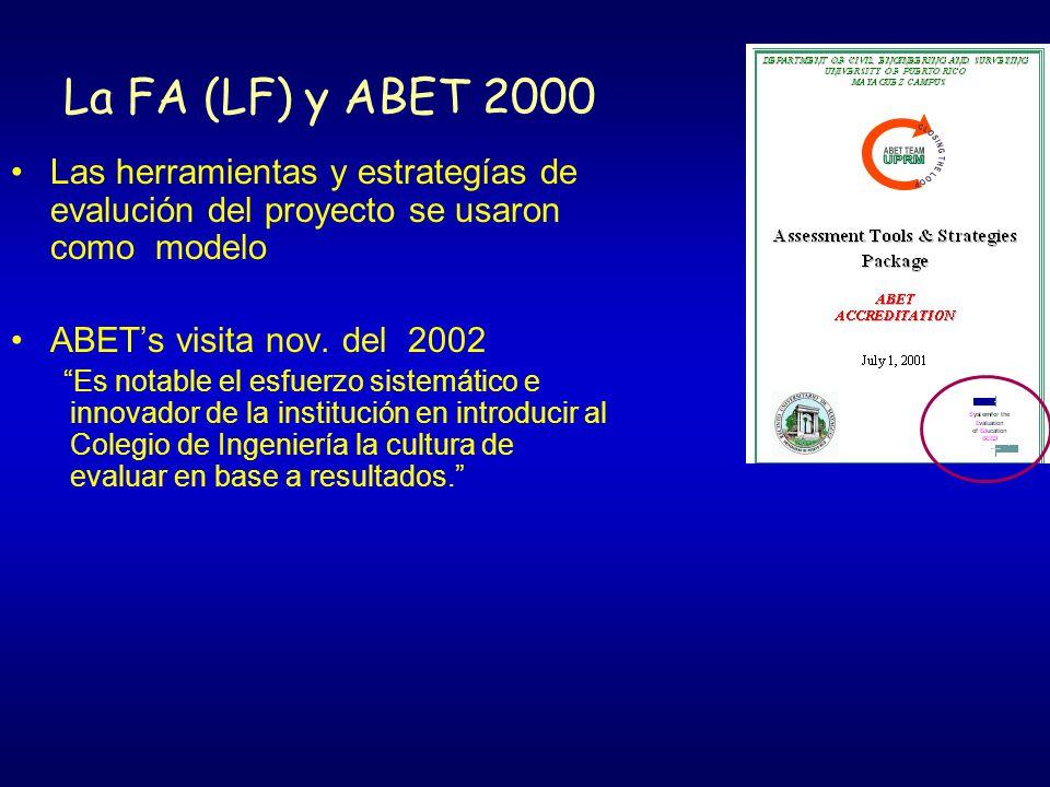 La FA (LF) y ABET 2000 Las herramientas y estrategías de evalución del proyecto se usaron como modelo.