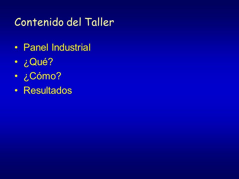 Contenido del Taller Panel Industrial ¿Qué ¿Cómo Resultados