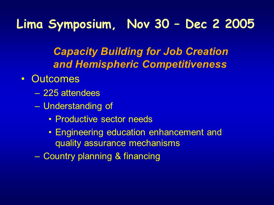 Lima Symposium, Nov 30 – Dec 2 2005