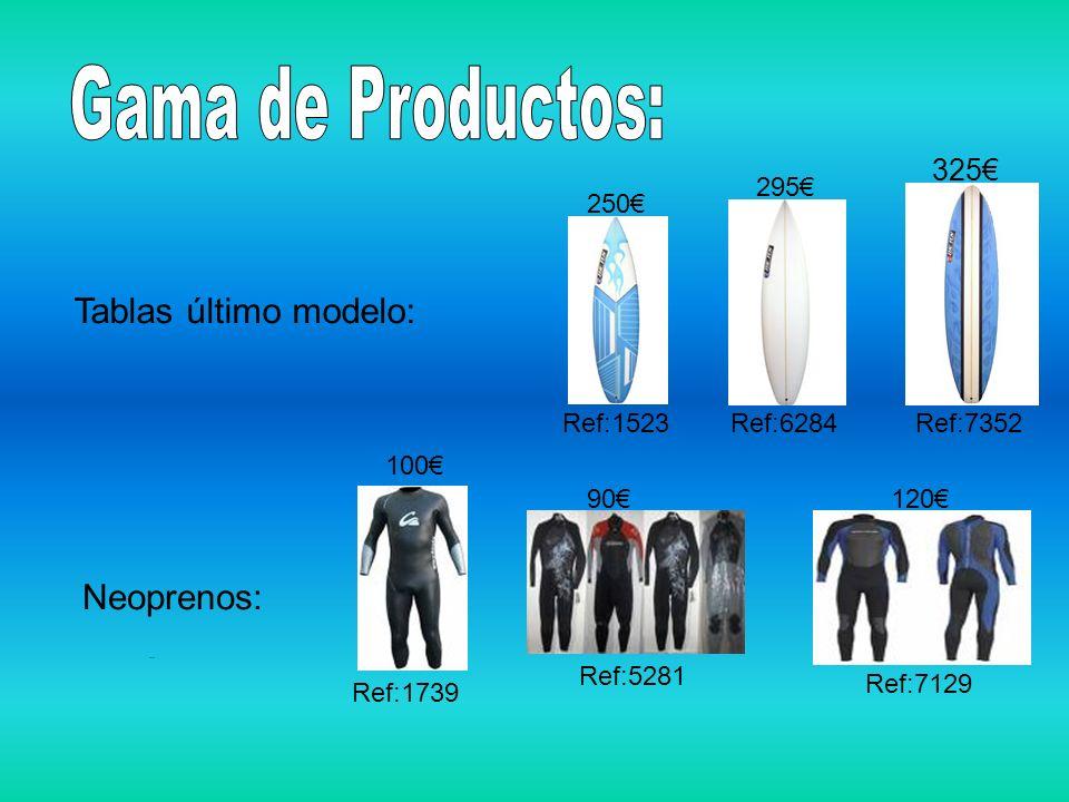 Gama de Productos: Tablas último modelo: Neoprenos: 325€ 295€ 250€