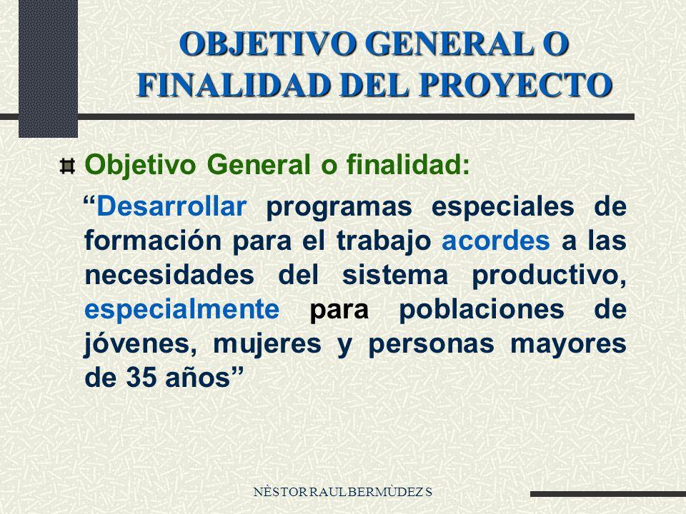 OBJETIVO GENERAL O FINALIDAD DEL PROYECTO