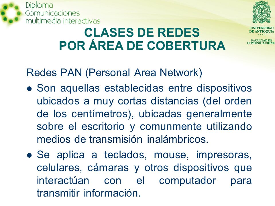 CLASES DE REDES POR ÁREA DE COBERTURA