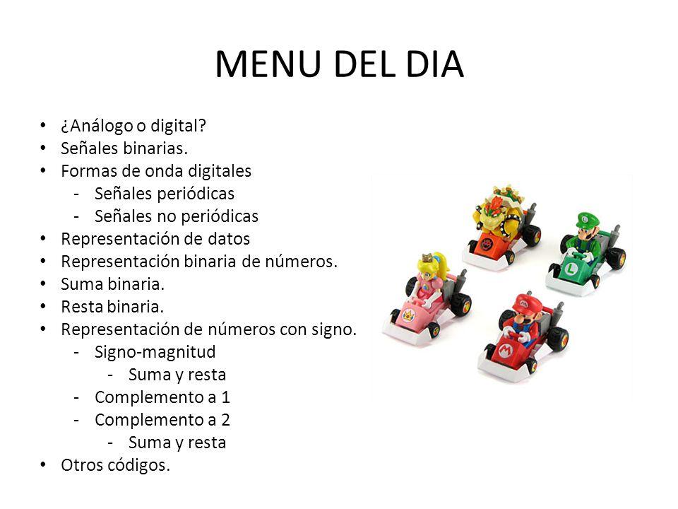 MENU DEL DIA ¿Análogo o digital Señales binarias.