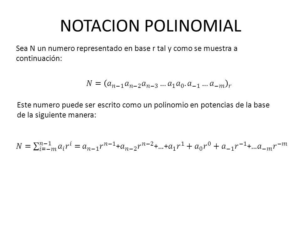 NOTACION POLINOMIAL Sea N un numero representado en base r tal y como se muestra a continuación: