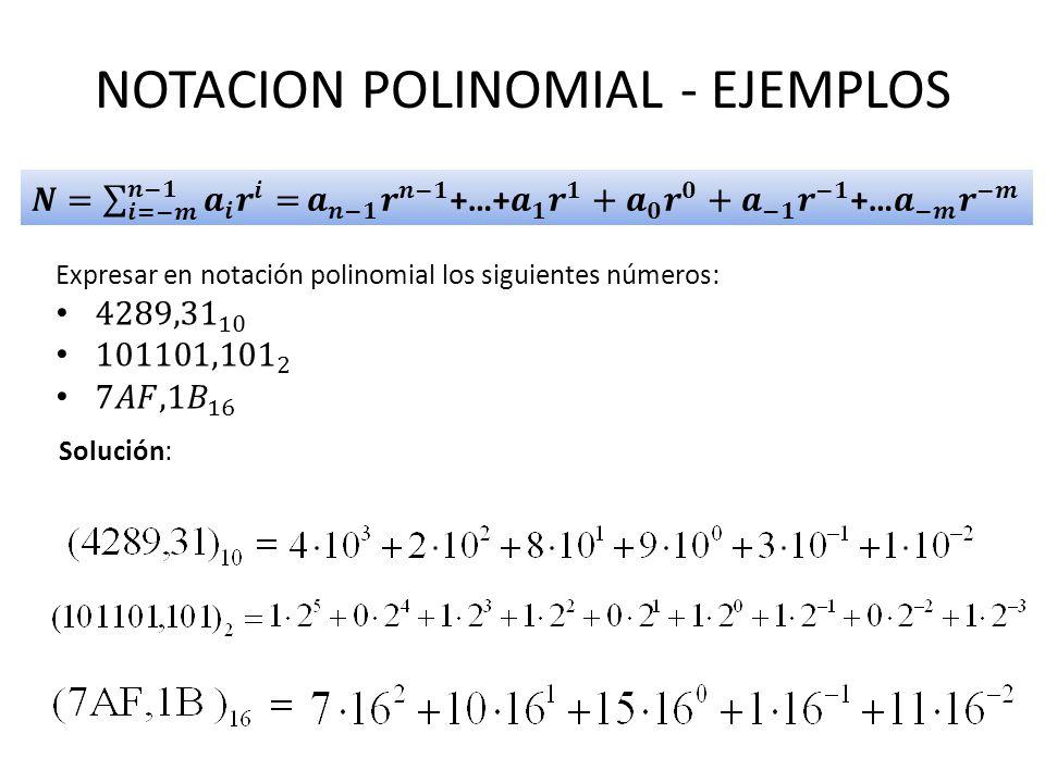 NOTACION POLINOMIAL - EJEMPLOS
