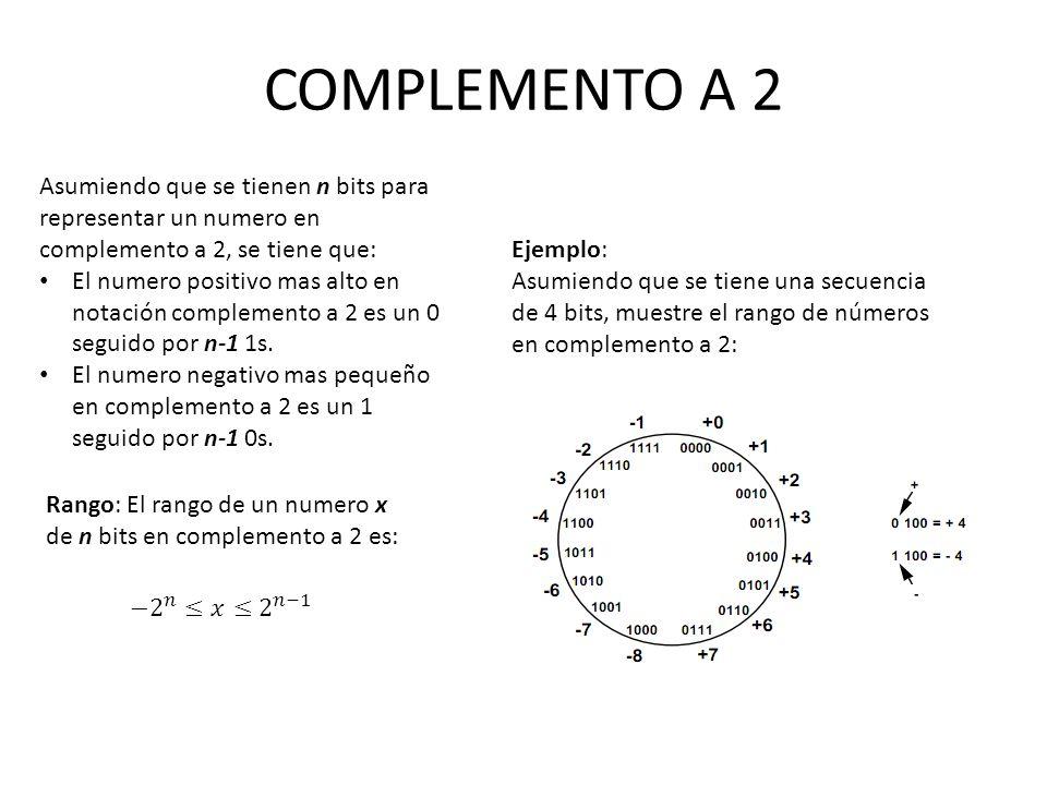 COMPLEMENTO A 2 Asumiendo que se tienen n bits para representar un numero en complemento a 2, se tiene que: