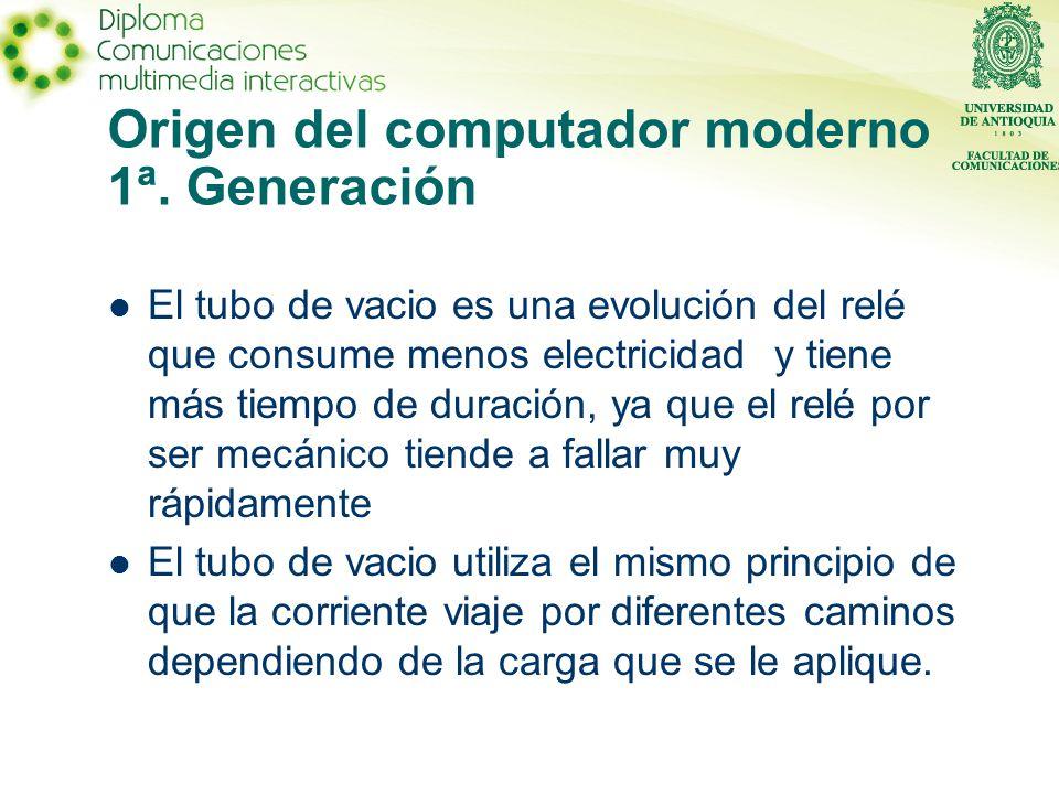 Origen del computador moderno 1ª. Generación