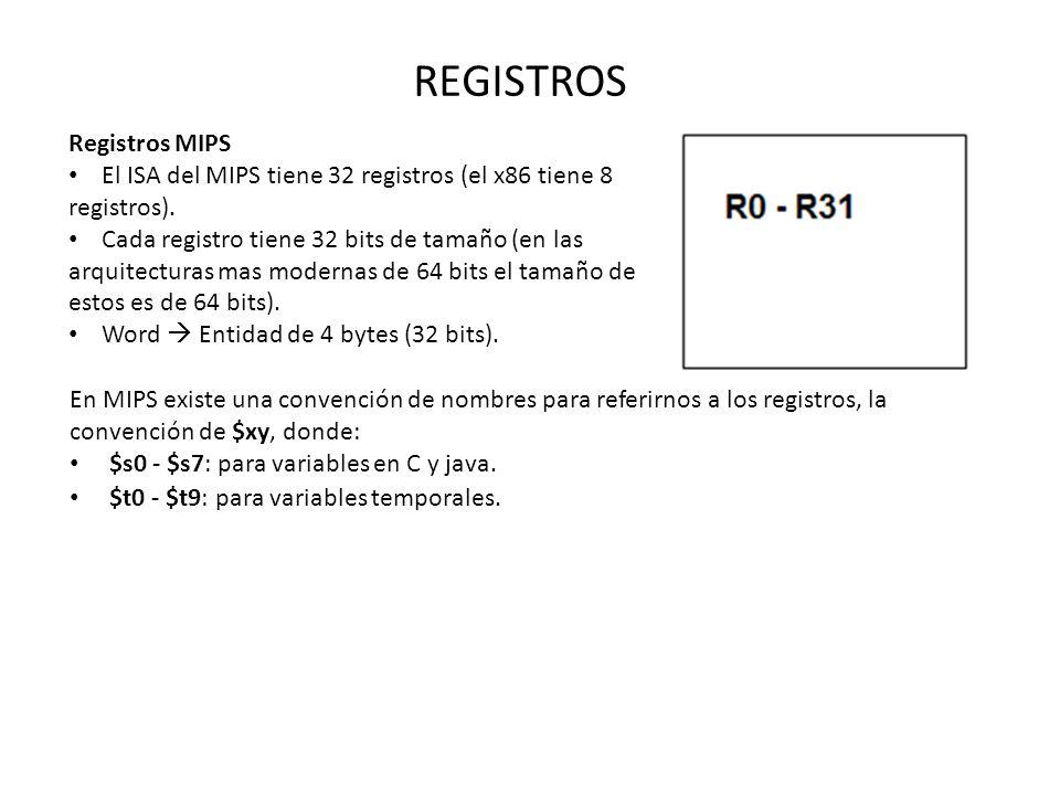 REGISTROS Registros MIPS