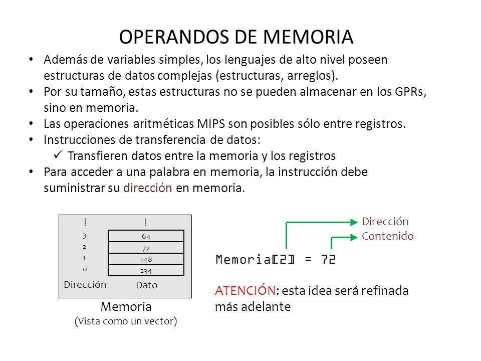 OPERANDOS DE MEMORIA Además de variables simples, los lenguajes de alto nivel poseen estructuras de datos complejas (estructuras, arreglos).