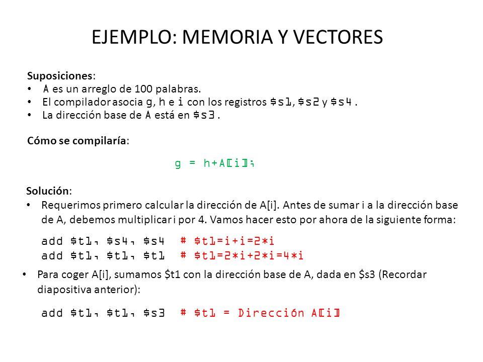 EJEMPLO: MEMORIA Y VECTORES