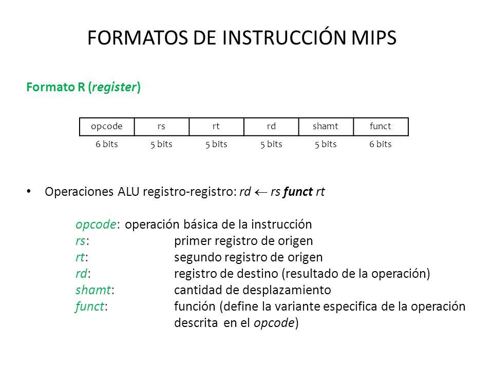 FORMATOS DE INSTRUCCIÓN MIPS