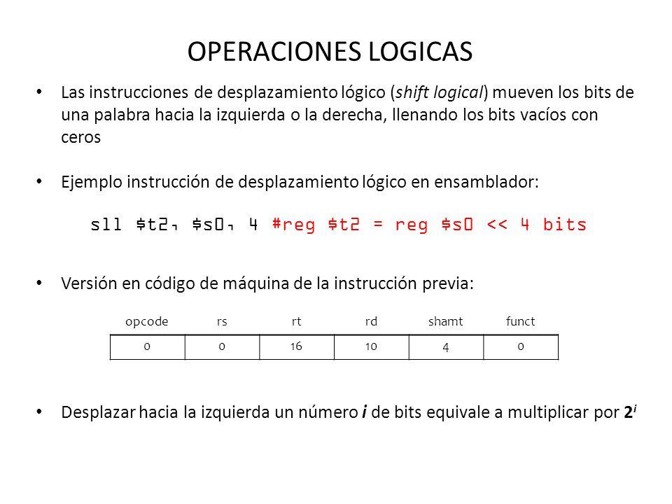 sll $t2, $s0, 4 #reg $t2 = reg $s0 << 4 bits