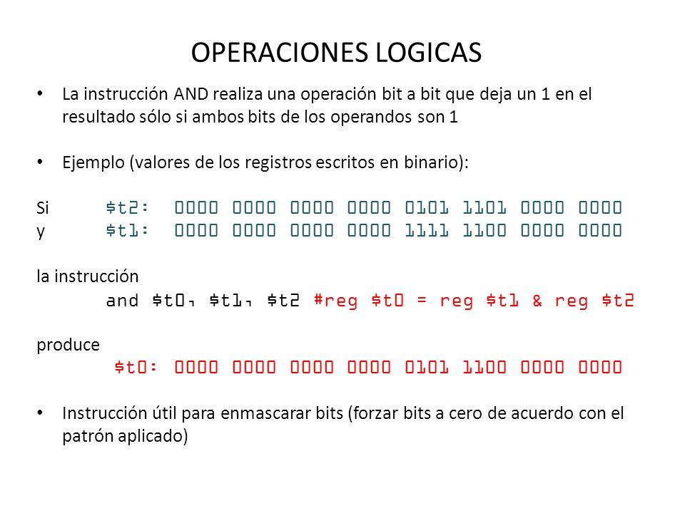 OPERACIONES LOGICAS La instrucción AND realiza una operación bit a bit que deja un 1 en el resultado sólo si ambos bits de los operandos son 1.