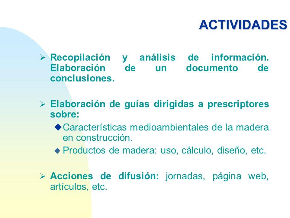ACTIVIDADESRecopilación y análisis de información. Elaboración de un documento de conclusiones.