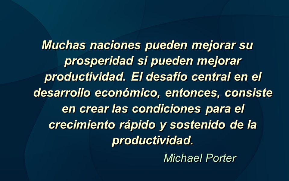 Muchas naciones pueden mejorar su prosperidad si pueden mejorar productividad. El desafío central en el desarrollo económico, entonces, consiste en crear las condiciones para el crecimiento rápido y sostenido de la productividad.