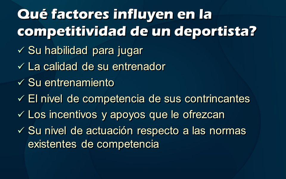 Qué factores influyen en la competitividad de un deportista