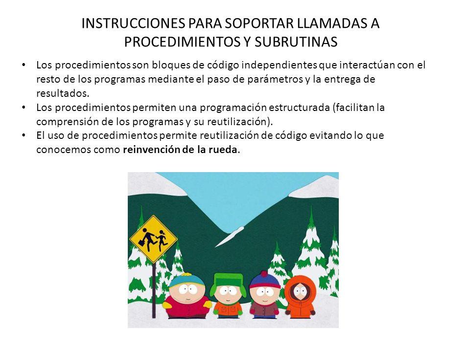 INSTRUCCIONES PARA SOPORTAR LLAMADAS A PROCEDIMIENTOS Y SUBRUTINAS