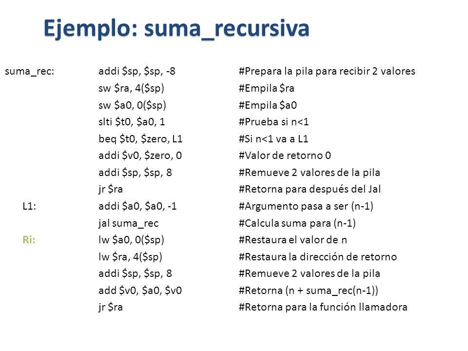 Ejemplo: suma_recursiva