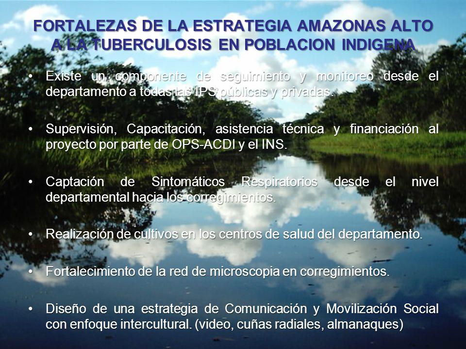 FORTALEZAS DE LA ESTRATEGIA AMAZONAS ALTO A LA TUBERCULOSIS EN POBLACION INDIGENA