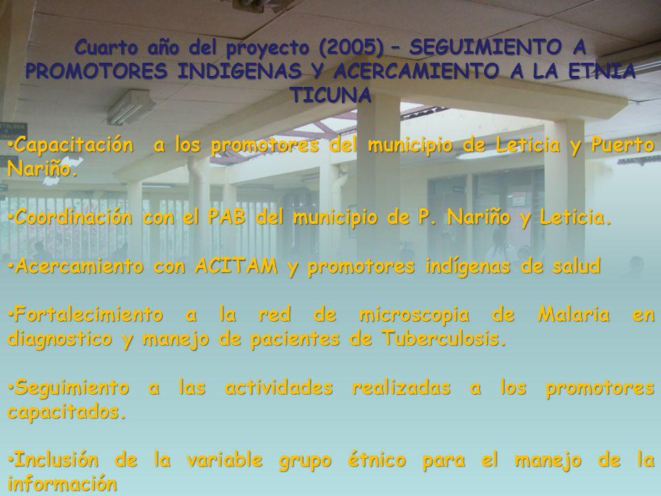 Cuarto año del proyecto (2005) – SEGUIMIENTO A PROMOTORES INDIGENAS Y ACERCAMIENTO A LA ETNIA TICUNA