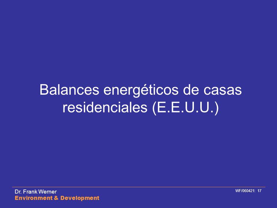 Balances energéticos de casas residenciales (E.E.U.U.)