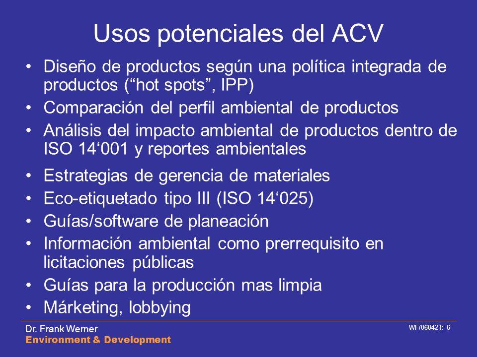 Usos potenciales del ACV