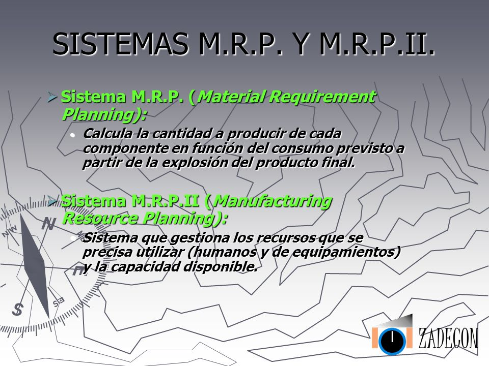 SISTEMAS M.R.P. Y M.R.P.II. Sistema M.R.P. (Material Requirement Planning):
