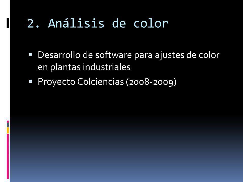 2. Análisis de color Desarrollo de software para ajustes de color en plantas industriales.