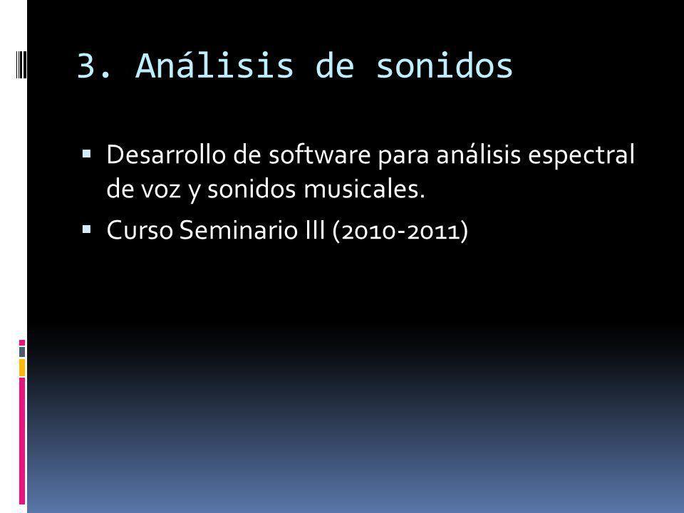 3. Análisis de sonidos Desarrollo de software para análisis espectral de voz y sonidos musicales.