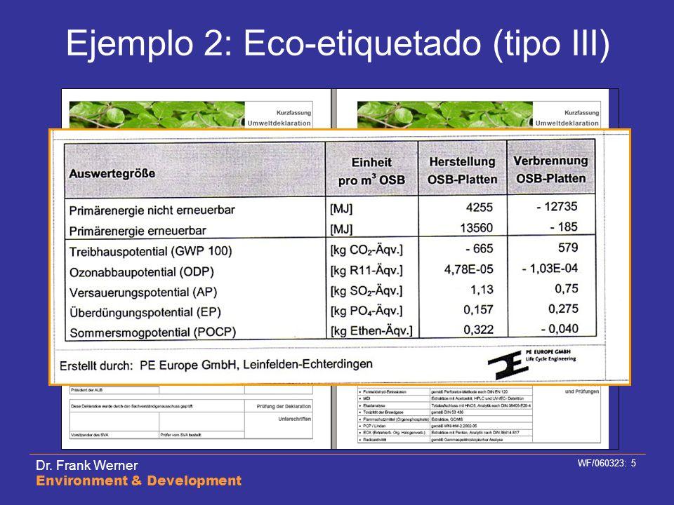 Ejemplo 2: Eco-etiquetado (tipo III)