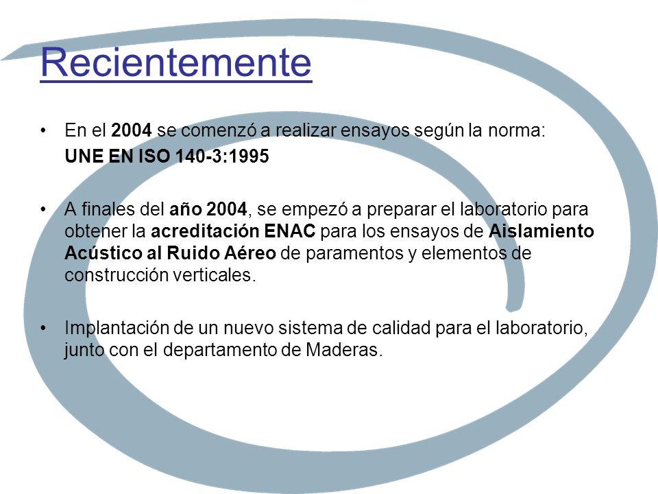 Recientemente En el 2004 se comenzó a realizar ensayos según la norma: