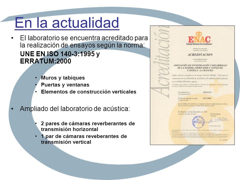 En la actualidad El laboratorio se encuentra acreditado para la realización de ensayos según la norma: