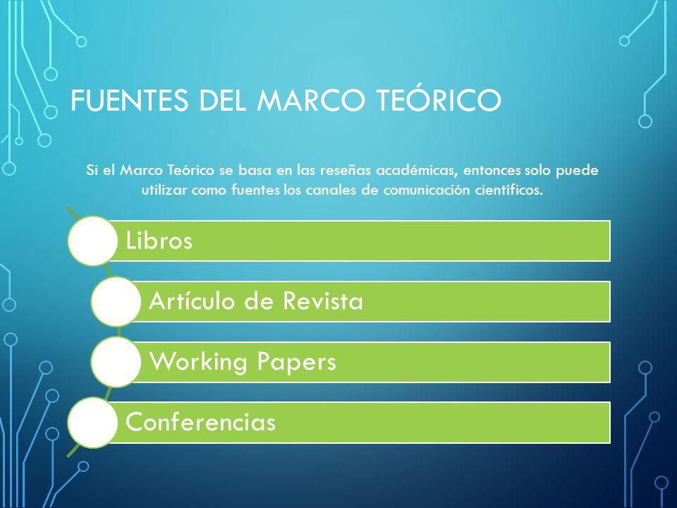 FUENTES DEL MARCO TEÓRICO
