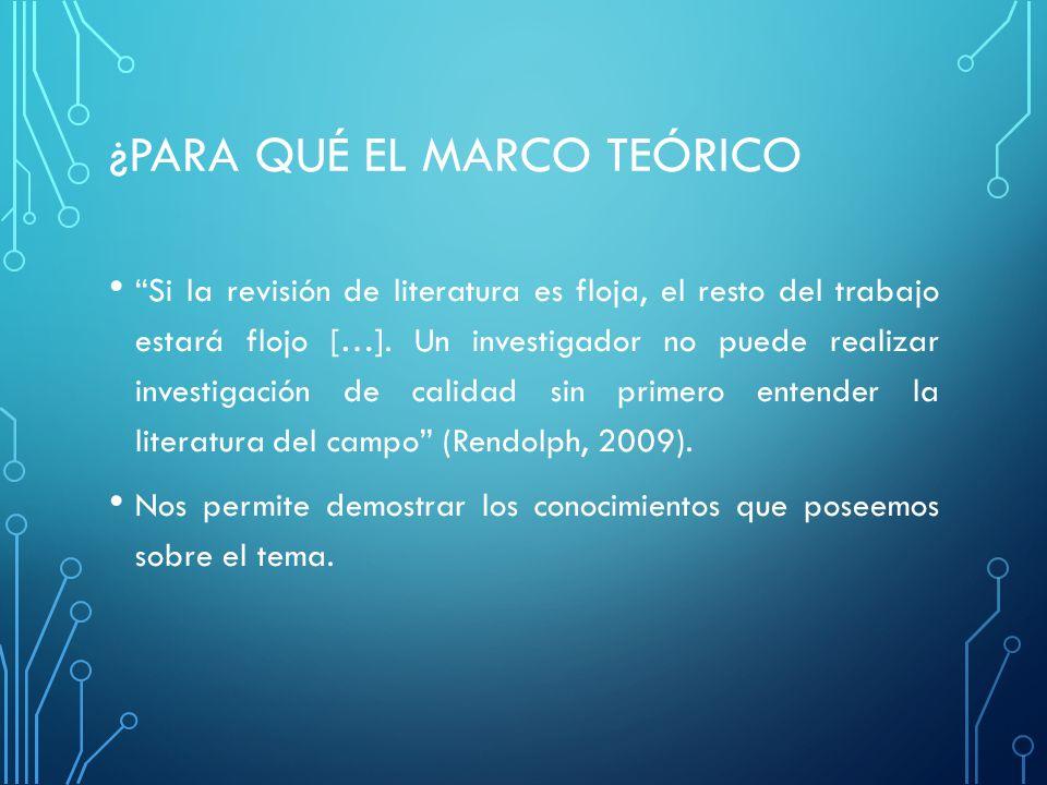 ¿PARA QUÉ EL MARCO TEÓRICO