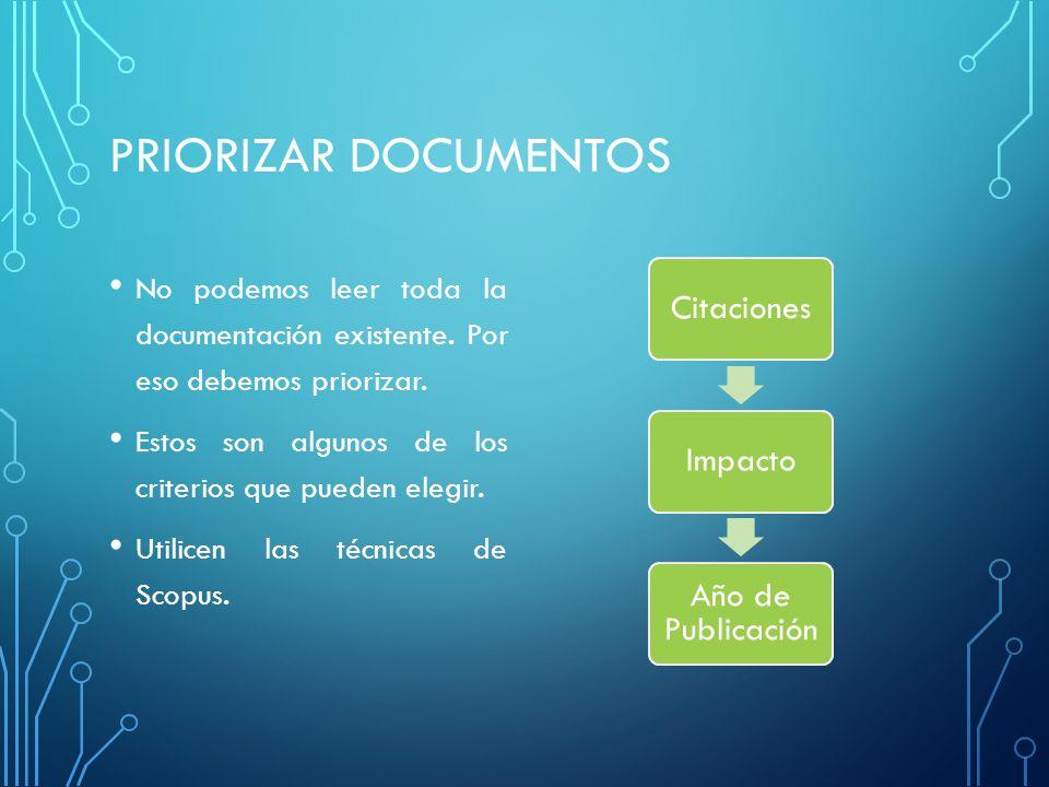 PRIORIZAR DOCUMENTOS No podemos leer toda la documentación existente. Por eso debemos priorizar.