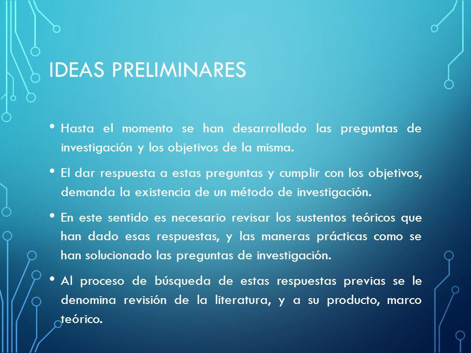 IDEAS PRELIMINARES Hasta el momento se han desarrollado las preguntas de investigación y los objetivos de la misma.
