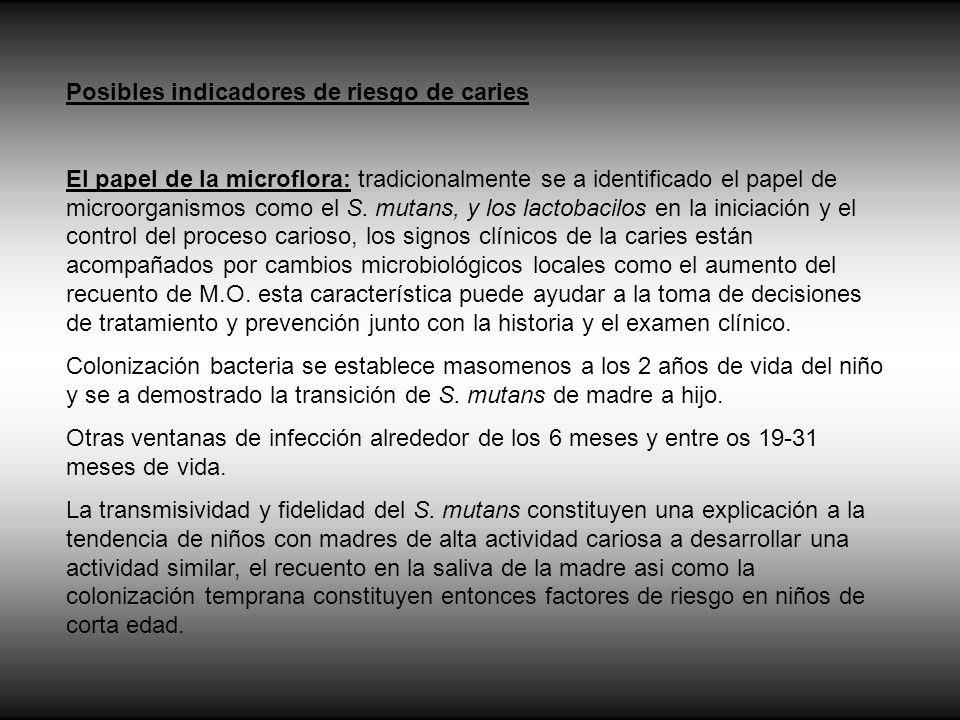 Posibles indicadores de riesgo de caries
