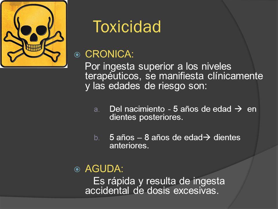 Toxicidad CRONICA: Por ingesta superior a los niveles terapéuticos, se manifiesta clínicamente y las edades de riesgo son: