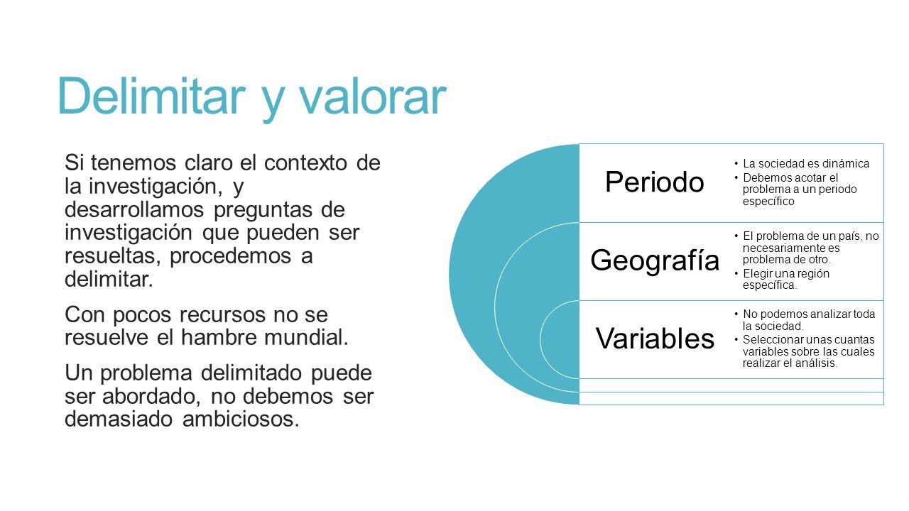 Delimitar y valorar Periodo Geografía Variables